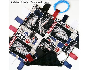 Star Wars - Ribbon tag blanket made w/ Star Wars original trilogy Rebel ships print, infant sensory toy, baby blanket