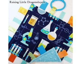 Chemistry - Ribbon tag blanket made w/ chemistry lab print, infant sensory toy, baby blanket