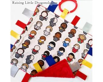 Star Trek - Ribbon tag blanket made w/ Star Trek print, infant sensory toy, baby blanket - RED backing