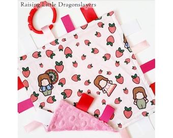 Firefly / Serenity - Ribbon tag blanket made w/ Firefly / Serenity Kaylee print, infant sensory toy, baby blanket