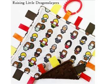 Firefly / Serenity - Ribbon tag blanket made w/ Firefly / Serenity crew print, infant sensory toy. baby blanket