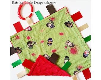 Walking Dead - Ribbon tag blanket made w/ Walking Dead print, infant sensory toy, baby blanket