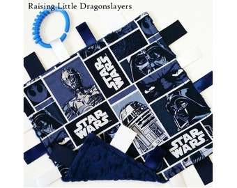 Star Wars - Ribbon tag blanket made w/ Star Wars original trilogy characters print, infant sensory toy, baby blanket