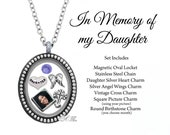 In Memory of my Daughter Memorial Oval Floating Locket Set Remembrance Necklace Picture Charm Sympathy Gift - SET625