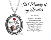 In Memory of my Brother Memorial Oval Floating Locket Charm Set Custom Picture Charm Remembrance Necklace Sympathy Gift - SET300