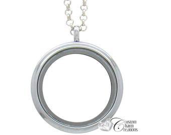 Floating Locket • Magnetic • Large 30 mm • Memory Locket Necklace • Holds Floating Charms ~ LOC76