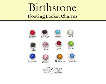 Floating Locket Charm • 7 mm Round Birthstone • January February March April May June July August September October November December