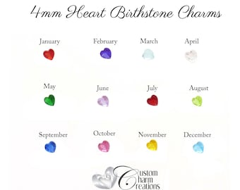 Birthstone Floating Locket Charm • SMALL 4mm Heart • January February March April May June July August September October November December