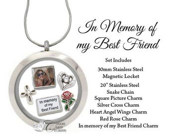 In Memory of my Best Friend • Memorial Floating Locket & Charm Set • Remembrance Necklace • Sympathy Gift - SET635