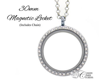 """Floating Locket Necklace with Crystals • Large 30 mm Round • Magnetic • 19"""" Chain • Holds Floating Charms - LOC75"""
