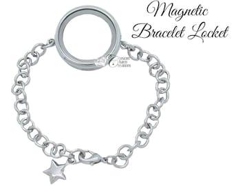 Floating Locket Bracelet • Magnetic • Large 30 mm • Holds Floating Charms - LOC26