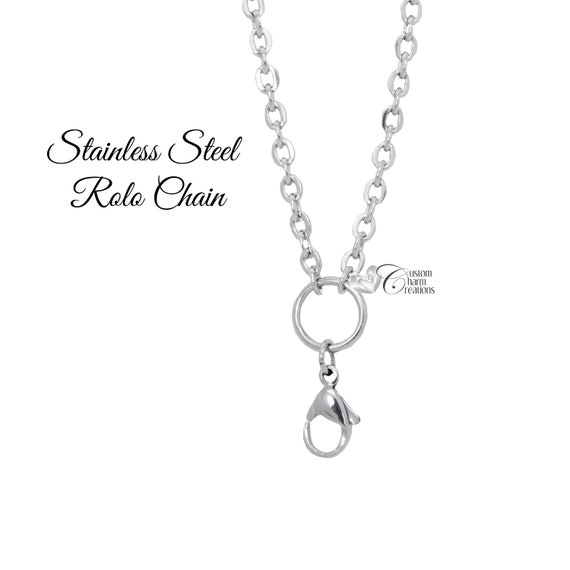 """Floating Charm Heart Locket With 20/"""" Rolo Chain O Ring /& Lobster Clasp"""