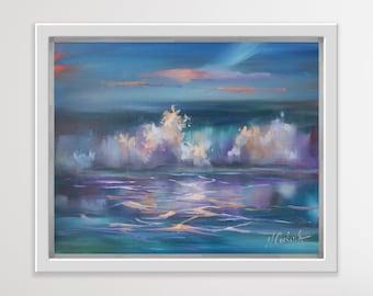 Sunset seascape oil painting Ocean waves, original framed artwork
