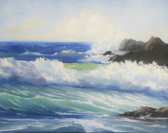 Seascape painting Ocean waves OROGINAL oil pinting, 18*24 inches Oil on canvas blue water beach fine art by Nadia Gurkova