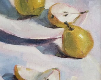 Still life with pears ORIGINAL oil painting, 9*12 inches, oil on canvas board by Nadia Gurkova
