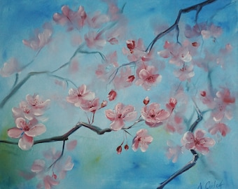 Cherry blossom ORIGINAL oil painting, botanical flower painting, spring,  20*16 inches oil on canvas  Fine art, Gallery quality