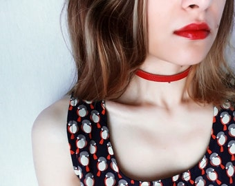 Red Choker, Leather Choker Necklace, Leather Wrap Necklace, Statement Choker