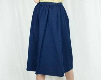Vintage 70s Navy Blue Pendleton Wool Skirt | Pleated Skirt