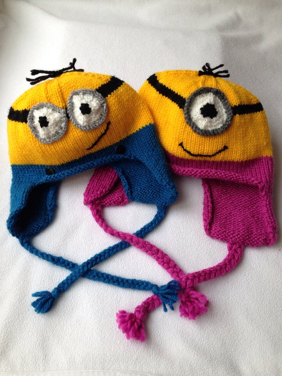 Knitting Pattern Minion Ear Flap Hat Etsy