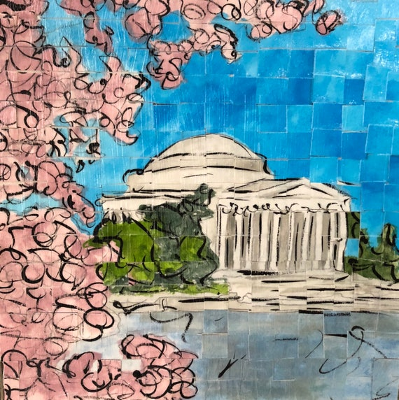 "Washington DC- Jefferson Memorial - Architectural Art: 8""x8"" Original Painting"