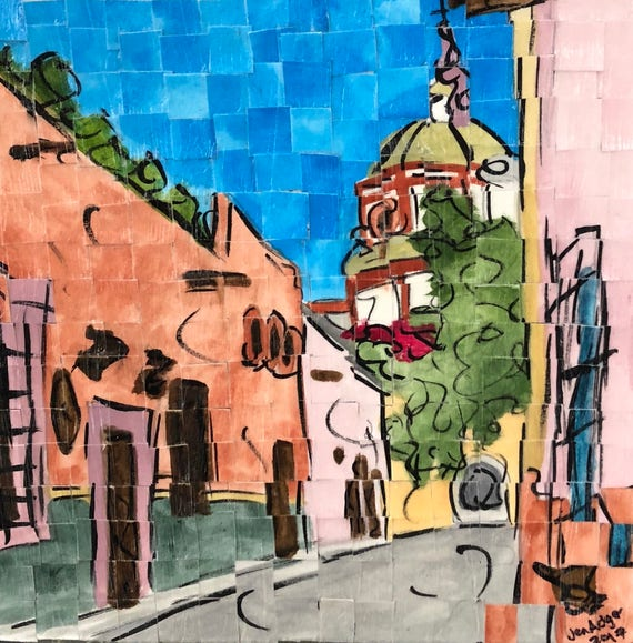 "San Miguel de Allende, Mexico -streets of San Miguel-Architectural Art: 8""x8"" Original Painting"
