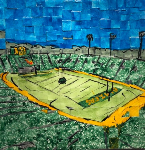 "University of Alabama Birmingham- Blazers Stadium - Architectural Art: 8""x8"" Original Painting"