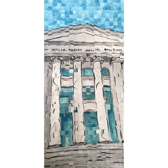 "Montgomery Alabama - Alabama Supreme Court -Architectural Art - Original Painting 10""x20"""