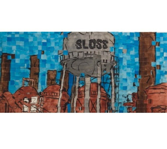 "Birmingham, Alabama - Sloss Furnaces - Architectural Art: 10""x20"" Original Painting"