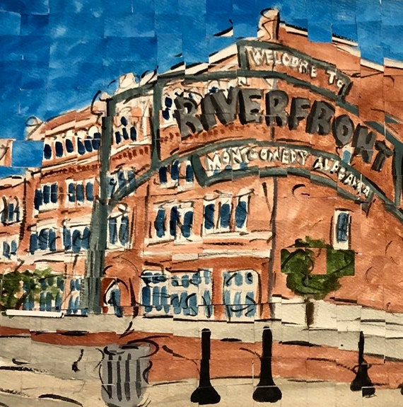 "Downtown Montgomery Alabama Riverfront Park original Painting 8""x8"""