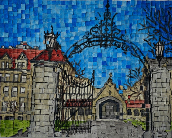 "University of Chicago - Cobb Gate - Architectural Art: 11""x14"" Original Painting"