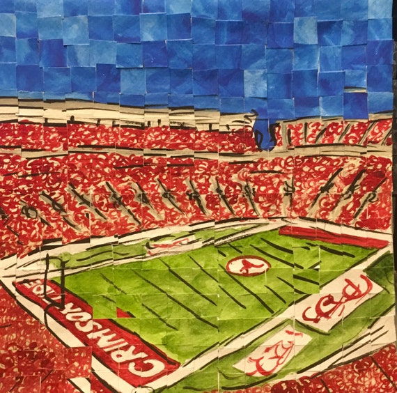 "University of Alabama- Bryant Denny Stadium- Architectural Art: 8""x8"" Original Painting"