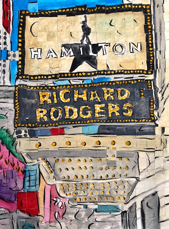 "Broadway - New York City- Richard Rodgers Theater- Hamilton the Musical - Architectural Art 9""x12"" original painting"