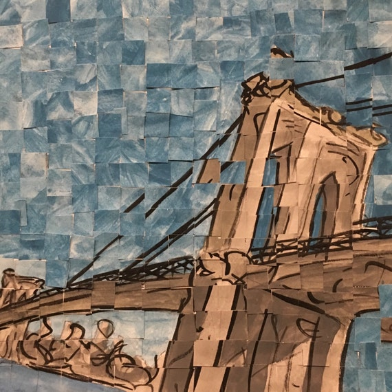 "Brooklyn- New York City- Brooklyn Bridge- Architectural Art 8""x8"" original painting"