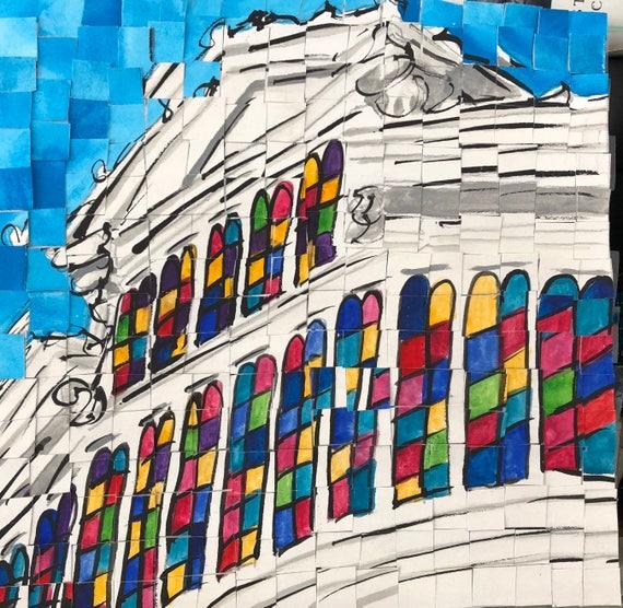 "Downtown Montgomery Alabama Union Station Train Shed original Painting 8""x8"""