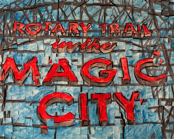 "Birmingham, Alabama - Rotary Trail -Magic City - Architectural Art: 11""x14"" Original Painting"