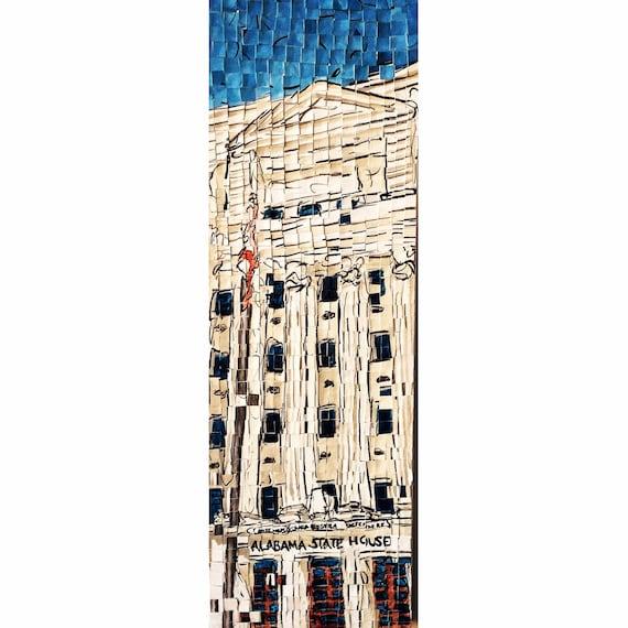 "Montgomery Alabama- Architectural Art- Alabama State House Distortion Original Painting: 8""x24"""