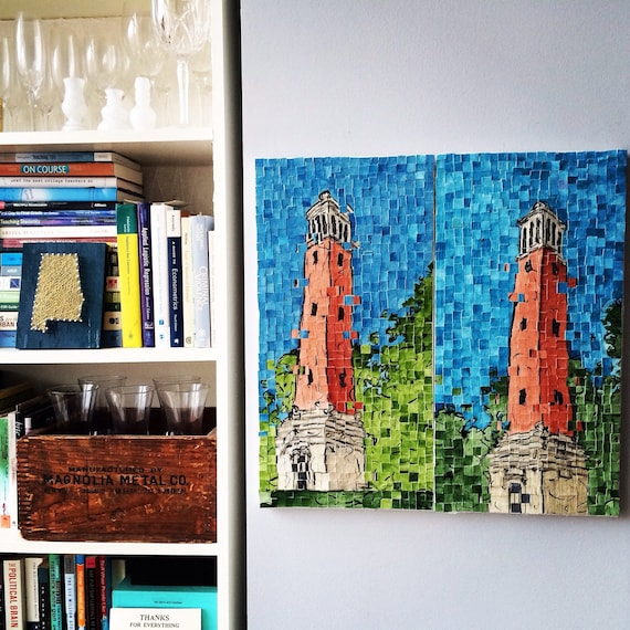 "University of Alabama Denny Chimes Architectural Art: 10""x20"" Original Painting"
