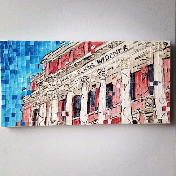 "Harvard University - Widener Library - Architectural Art: 10""x20"" Original Painting"