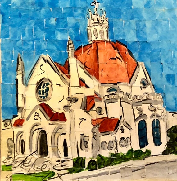 "Downtown Montgomery Alabama First Baptist Church original Painting 8""x8"""