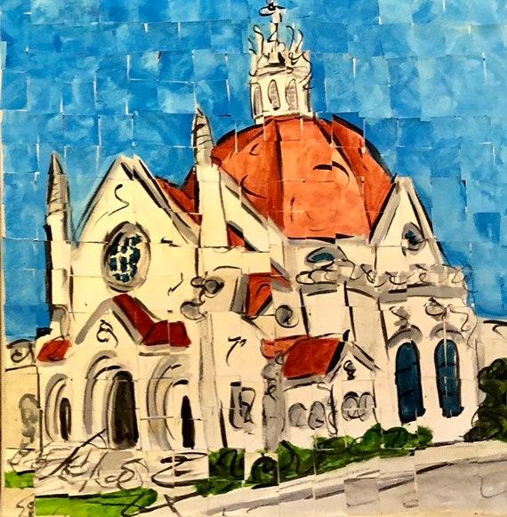 "Downtown Montgomery Alabama First Baptist Church original Painting 8""x8"""