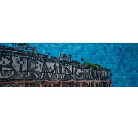 "Birmingham, Alabama - Regions Field - Architectural Art: 8""x24"" Original Painting"