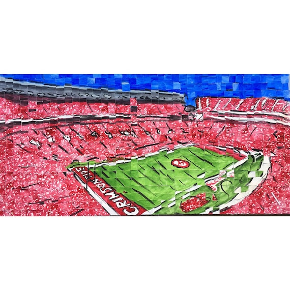 "University of Alabama- Bryant Denny Stadium- Architectural Art: 10""x20"" Original Painting"
