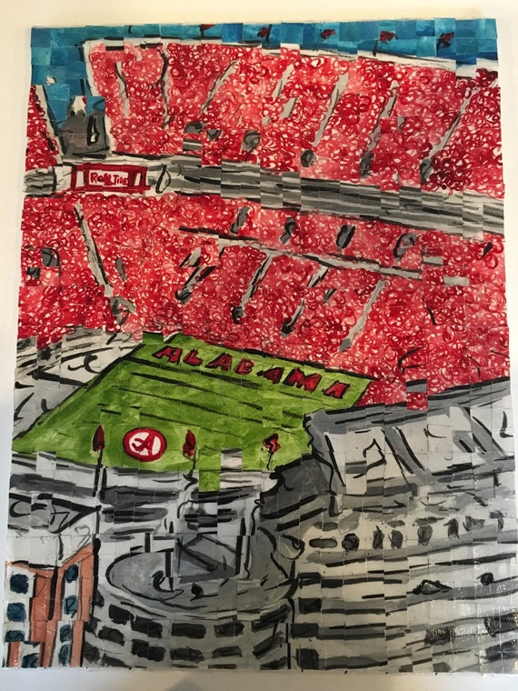 "University of Alabama- Bryant Denny Stadium- Architectural Art: 12""x16"" Original Painting"