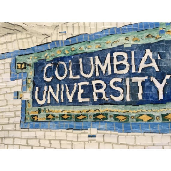 Columbia University - 116th subway stop - Architectural Art - Original Painting 9x12""