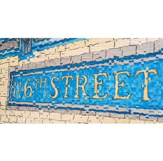 "New York City- architectural Art-116th Street Subway Sign - 12""x36"