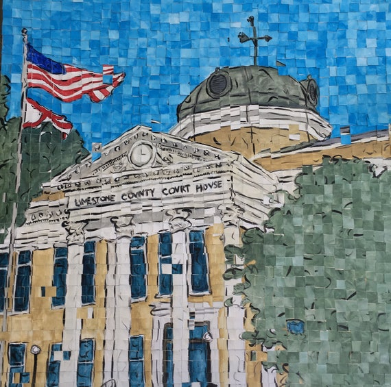 "Limestone County Courthouse- Athens Alabama - Architectural Art: 20""x20"" Original Painting"