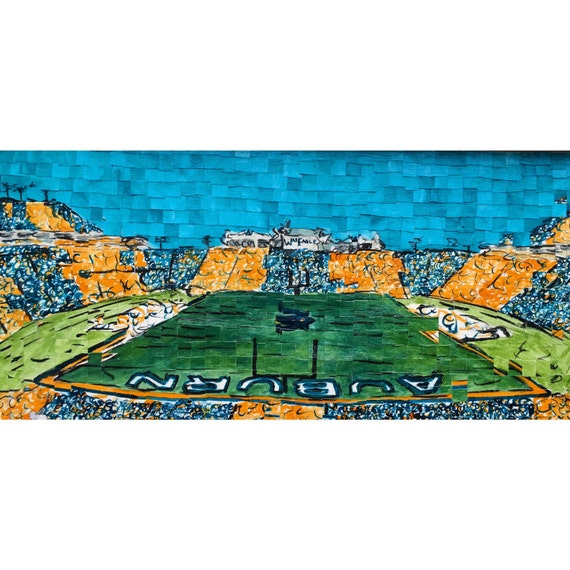 "Auburn University - Jordan Hare Stadium - Architectural Art: 10""x20"" Original Painting"