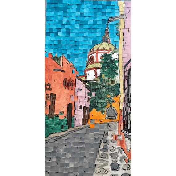 "San Miguel de Allende, Mexico -streets of San Miguel-Architectural Art: 10""x20"" Original Painting"