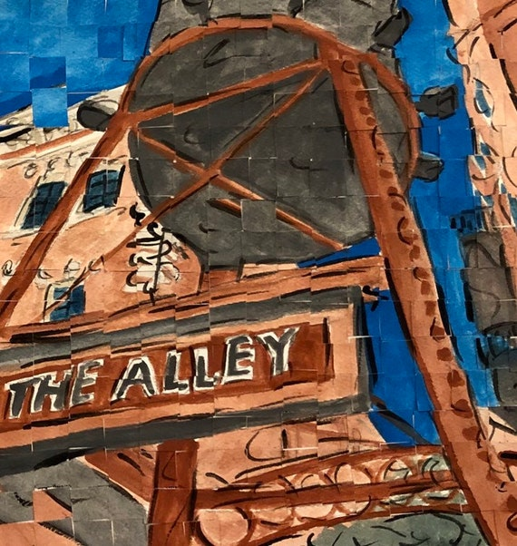 "Downtown Montgomery Alabama The Alley original Painting 8""x8"""