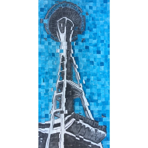 "Seattle, Washington - Space Needle -Architectural Painting: 10""x20"" Original Painting"